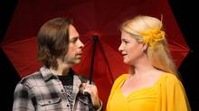 Brandon McGibbon and Carly Street play main characters Bob and Helena, an unlikely couple who wind up on a very likely adventure, in Midsummer (a play with songs). (Cylla von Tiedemann)