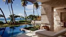 Casitas overlook the ocean and private pool at Ritz Carlton Dorado Beach in Puerto Rico.