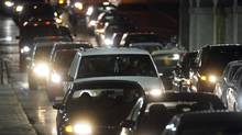 Heavy southbound traffic onYork St. in Toronto, as commuters head for the Gardiner Expressway on-ramp. (Fred Lum)