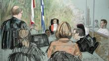 An artist's sketch of the courtoom in the Magnotta hearing in Montreal on Friday, April 12, 2013 into the death of Jun Lin. (Mike McLaughlin/THE CANADIAN PRESS)