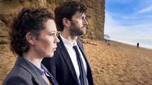 Olivia Colman and David Tennant star as detectives investigating the murder of an 11-year-old boy in an idyllic seaside town in Broadchurch, beginning August 4 at 10 p.m. on Showcase.