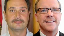 Combination photo of PEI Premier Robert Ghiz (left) and Sask. Premier Brad Wall. The men are participating in a friendly Movember competition. (Office of the Premier of PEI and Paul Taillon/Handout images)