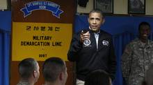 U.S. President Barack Obama visits U.S. military personnel at Camp Bonifas, along the Korean demilitarized zone, on Saturday. (Larry Downing/Reuters)