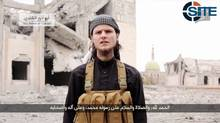 SITE Intelligence Group, a U.S.-based company that monitors trends within the global jihadist movement, says Islamic State has released a video calling for lone-wolf attacks on Canadian targets. On the video is a man who says he is a Canadian and identifies himself as Abu Anwar al-Canadi. (THE CANADIAN PRESS)