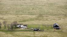 An aerial view of Wayne Kellestine's home and barn on April 10, 2006. (DEREK RUTTAN)