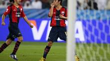 Atlante's Christian Bermudez , right, reacts with his teammate Guillermo Rojas after scoring against Auckland City during their Club World Cup soccer match at Zayed Sports City Stadium in Abu Dhabi, United Arab Emirates, Saturday, Dec. 12, 2009. Atlante FC won 3-0. (AP Photo/Hassan Ammar) (Hassan Ammar)