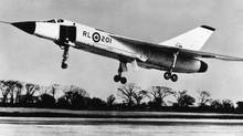 Considered at the time the most advanced supersonic interceptor aircraft in the world, the Avro Arrow was nevertheless cancelled by the Diefenbaker government. The first Avro Arrow is pictured here about to land at Malton Airport in Toronto during an early test flight. Photo: AVRO Newsmagazine Special Edition, 1958 Originally published March 26, 1983, CBC released the picture in 1979/1980 to promote a current affairs documentary. (Avro Newsmagazine)