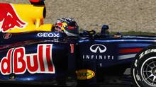 Red Bull Formula One driver Sebastian Vettel of Germany drives the RB8 during a training session at the Jerez racetrack in southern Spain February 9, 2012. REUTERS/Marcelo del Pozo (SPAIN - Tags: SPORT MOTORSPORT) (Marcelo del Pozo/REUTERS)