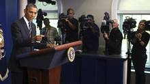 Barack Obama says 'Obamacare' will not be part of negotiations for avoiding a government shutdown. (DOUG MILLS/NYT)