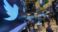 The Twitter symbol is displayed at the post where the stock is traded on the floor of the New York Stock Exchange, on November 15, 2013. (BRENDAN MCDERMID/REUTERS)