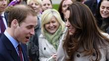 In this Tuesday, March 8, 2011 photo, Britain's Prince William and Kate Middleton prepare to flip pancake at a display by the charity Northern Ireland Cancer Fund for Children outside the City Hall in Belfast, Northern Ireland. Prince William might seem like someone who has it all: royal status, a charming fiancee, good health, and an easy touch with his future subjects. But there is something he lacks: A full head of hair. Casual observers who have not paid much attention to the future king during the years before his engagement to Kate Middleton have been surprised by the extent of his hair loss, particularly since younger brother Prince Harry still sports a luxuriant supply of tousled red hair. (Peter Morrison/Peter Morrison/AP)