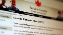 Information regarding the Canadian Pension Plan is displayed of the service Canada website in Ottawa in January, 2012. (SEAN KILPATRICK/THE CANADIAN PRESS)