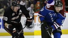 Corey Perry of the Anaheim Ducks and Matt Duchene of the Colorado Avalanche