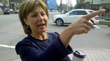 B.C. Liberal Leader Christy Clark stops for a coffee in her Vancouver riding on April 3, 2013. (Ian Bailey/The Globe and Mail)
