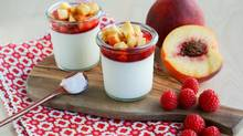 Panna Cotta with fresh raspberries and peaches (Stephanie Eddy For The Globe and Mail)