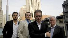 From left to right, the Designer Guys, Matt Davis and Anwar Mukhayesh along with President/CEO of Camrost-Felcorp David Feldman and Chief architect of WZMH Architects Brian Andrew in front of the Four Seasons Yorkville tower, which will be converted into condominiums in Toronto, Ont. (Michelle Siu/The Globe and Mail)
