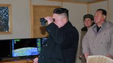 North Korean leader Kim Jong Un guides the test-fire of Pukguksong-2 on the spot, in this undated photo released by North Korea's Korean Central News Agency (KCNA) in Pyongyang February 13, 2017. (KCNA/Reuters)