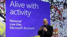 Microsoft CEO Steve Ballmer gives his presentation at the launch of Microsoft Windows 8, in New York, Thursday, Oct. 25, 2012. Windows 8 is the most dramatic overhaul of the personal computer market's dominant operating system in 17 years. And while it's 'alive with activity,' it's missing some of the things Windows users are used to. (Richard Drew/AP)