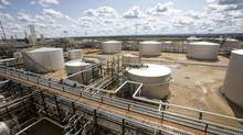 Panoramic view of Long Lake's Tank Farm taken from the Hot Lime Softener at the Nexen's Long Lakes Phase 1 integrated oil sands in north eastern Alberta. Long Lake is situated about 40 km south east of Fort McMurray. (Dave Olecko)