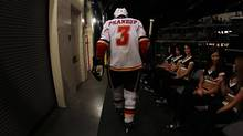 Defenceman Dion Phaneuf makes his way to the ice at the American Airlines Center in Dallas, Texas, on Jan. 27. (Ronald Martinez/2010 Getty Images)