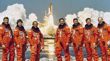 The STS-42 crew portrait includes from left to right: Stephen S. Oswald, pilot; Roberta Bondar, Canada's first female astronaut, payload specialist 1; Norman E. Thagard, mission specialist 1; Ronald J. Grabe, commander; David C. Hilmers, mission specialist 2; Ulf D. Merbold, payload specialist 2; and William F. Readdy, mission specialist 3. Launched aboard the Space Shuttle Discovery on January 22, 1992. (NASA)
