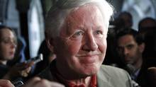 Bob Rae speaks to reporters as he arrives to a post-election Liberal caucus meeting in Ottawa on May 11, 2011. (CHRIS WATTIE/REUTERS)