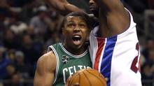 Boston Celtics' Sebastian Telfair, left, takes the ball to the basket past Detroit Pistons' Antonio McDyess during the first half of their NBA basketball game in this Feb. 6, 2007 file photo, in Auburn Hills, Mich.