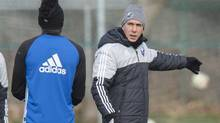 Montreal Impact head coach Mauro Biello, right, says facing Toronto FC in the Eastern final is a 'special' moment for his team. (Paul Chiasson/The Canadian Press)