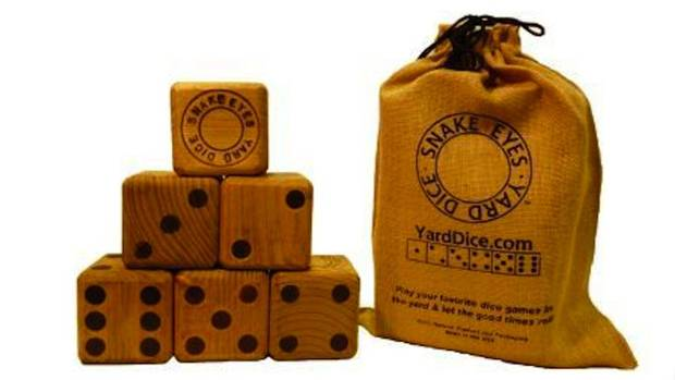 Dicey business: Snake Eyes' yard dice look like retro board game rollers. But the hand-branded, white pine cubes are bigger than a tennis ball so they won't get lost in the lawn. Games of Pig, Bunco and Greedy can be either family-friendly or ride on wagers. Six dice per set. $53. Through yarddice.com.