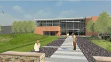CSE Communications Security Establishment - This architectural rendering shows the Mid-Term Accommodation building for CSEC's new campus at Blair - Ogilvie Rd in Ottawa. (HANDOUT)