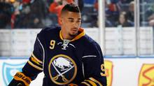 Evander Kane of the Buffalo Sabres warms up to play the Edmonton Oilers at First Niagara Center on March 1, 2016 in Buffalo, New York. (Jen Fuller/Getty Images)