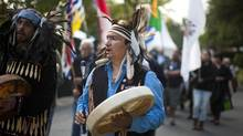 A procession of residential school survivors during the Truth and Reconciliation Commission of Canada, British Columbia National Event in Vancouver, Sept. 18, 2013. The four-day event is the sixth of seven mandated under the Residential Schools Settlement Agreement. (Rafal Gerszak for the globe and mail)