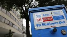A newspaper box outside the Watergate complex in Washington offers copies of the Washington Post for sale on Aug. 6, 2013. Amazon.com Inc founder Jeff Bezos will buy the Washington Post newspaper for $250-million in a surprise deal that ends the Graham family's 80 years of ownership and hands one of the country's most influential publications to the businessman whose Internet company has transformed retailing. (JONATHAN ERNST/REUTERS)