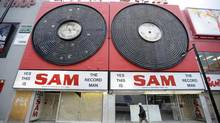 Photos of what was still left of Sam the Record Man on Yonge Street, near Dundas. (Tibor Kolley/The Globe and Mail)