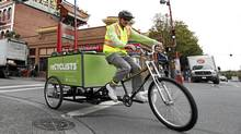 Darren Douglas works for reCyclists, a company that collects organic waste weekly from Victoria businesses via bicycles. (Deddeda Stemler for The Globe and Mail)