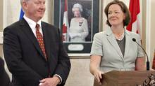 Alberta Premier Alison Redford and Energy Minister Ken Hughes are pushing for the Keystone XL pipeline's approval. (JASON FRANSON/The Canadian Press)