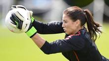 U.S. Olympic women's soccer player Hope Solo attends a training session during the London 2012 Olympic Games at Eltham College in London. (NIGEL RODDIS/REUTERS)