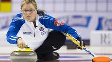 British Columbia skip Kelly Scott became the first curler to advance to the Page playoffs of the 2013 Capital One Road to the Roar Olympic pre-trial tournament with an 8-5 win over Renee Sonnenberg in the women's A-event final on Thursday. (File photo) (MARK BLINCH/REUTERS)