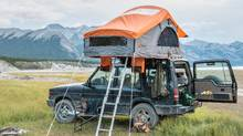 Each is designed with a lightweight aluminum honeycomb base that flips open to reveal a tent. (HENRY ALCOCK WHITE/TREELINE OUTDOORS)