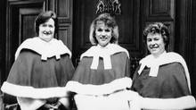 SEPTEMBER 26, 1990 -- THREE WOMEN JUSTICES -- On April 17, 1989 Beverley McLachlin, centre, was sworn to join Justices Bertha Wilson, left, and Claire L'Heureux-Dubé on the Supreme Court of Canada. (CP)