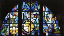 Student project, stained glass window, Art for Enlightenment, at Eastern High School of Commerce.