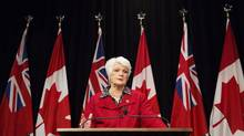 Education Minister Liz Sandals speaks to the media about the new health and physical education curriculum for Ontario students, at Queen's Park in Toronto on Monday, Feb. 23, 2015. (Matthew Sherwood For The Globe and Mail)