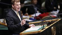 Foreign Minister John Baird addresses the United Nations General Assembly. (CHIP EAST/REUTERS)