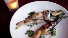 The mermen dish, half frog, half fish, at the Atlantic restaurant in Toronto. (Della Rollins for The Globe and Mail)