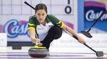 Northern Ontario's Sarah Potts makes a shot during the ninth draw against Newfoundland and Labrador at the Scotties Tournament of Hearts in Grande Prairie, Alta., on Feb. 23. (JONATHAN HAYWARD/THE CANADIAN PRESS)