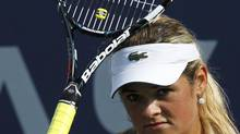 Aleksandra Wozniak of Canada reacts to a missed point against Alexandra Cadantu of Romania during their women's singles match at the U.S. Open tennis tournament in New York August 27, 2012. (EDUARDO MUNOZ/REUTERS)
