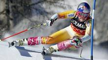 Lindsey Vonn of U.S. speeds down the course to win the ladies' super G Alpine Skiing World Cup event in Cortina D'Ampezzo, Italy on Sunday. (ALESSANDRO GAROFALO)