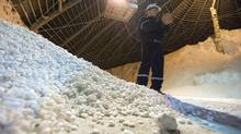 Trevor Berg, Mill General Super Attendant, holds some potash chicklets in a storage build at the Potash Cory mine near Saskatoon, SK. on August 19th, 2010. THE GLOBE AND MAIL/Liam Richards (Liam Richards/Liam Richards/THE GLOBE AND MAIL)