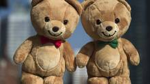 Kraft is launching a line of bears for sale. The dolls are designed after the bears that appear on the company's peanut butter labels – one with a red bow tie for crunchy, and a green bow tie for smooth. (Fred Lum/The Globe and Mail)