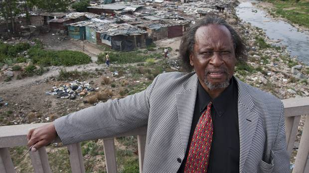 Linda Twala was born and raised in Johannesburg's impoverished Alexandra township (seen in the background), and has made philanthropy his life's work. He runs a daycare centre for township children, as well as a soup kitchen, a community centre for children and senior citizens, and other projects.